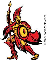 Spartan trojan mascot mit Speer