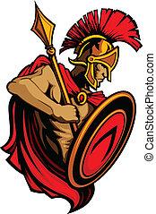 Spartan-Trojan-Maskottchen mit Speer an