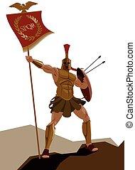 Spartaner Krieger mit Rüstung und mit der Fahne mit einem Schwert