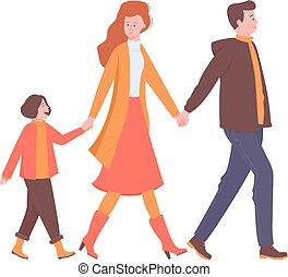 spaziergänge, glücklich, besitz, familie, hands.