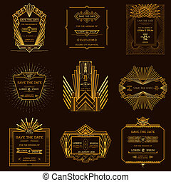 Speichern Sie das Datum - Satz der Hochzeitseinladungskarten - Art deco Vintage Style - in Vektor.