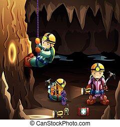 Speleologen in einem 3D-Hintergrundposter.