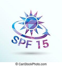 Spf 15 Schildaufkleber-Bannermark-Banner isoliert.