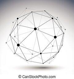 Sphärische abstrakte einfarbige 3D Abbildung, Vektor di.