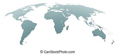 Sphärische gebogene graue Weltkarte