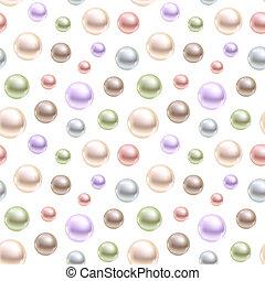 Sphärische Perlen verschiedener Farben. Seamless Vektor Hintergrund.