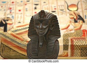 Sphynx und Hintergrund mit Elementen der egyptischen alten Geschichte