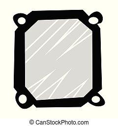 spiegel., silhouette, daheim, design, motives, inneneinrichtung, vektor, gegenstand