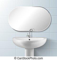 spiegel, vektor, sinken, badezimmer