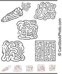 spiel, labyrinth, satz, freizeit
