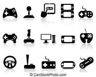 spiel, satz, video, steuerknüppel, heiligenbilder