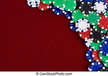 Spielchips roter Hintergrund