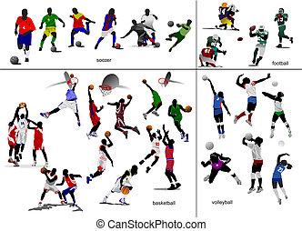Spiele mit Ball. Fußball, Football, Basketball, Volleyball. Vektor Illustration