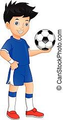 spielen kugel, reizend, junge, football., besitz