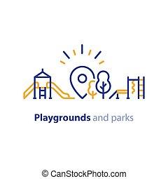 spielen, zone, park, ausrüstung, spielplatz, kinder, lokal