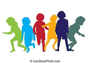 spielende , 5, kinder, silhouetten