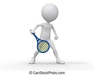 spielende , abstrakt, menschliche , tennis, 3d