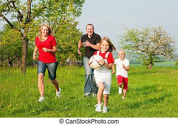 spielende , familie, ballgames