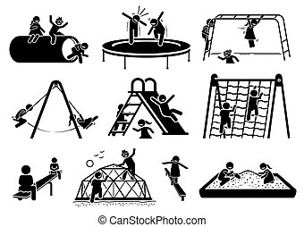spielende , figuren, icons., kinder, spielplatz, aktive, stock