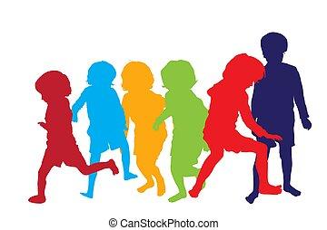 spielende kinder, 2, silhouetten