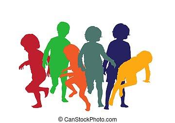 spielende kinder, 4, silhouetten