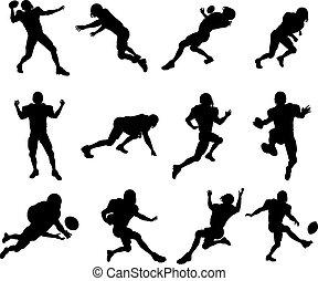 spieler, amerikanische , fußball, silhouette