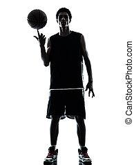 spieler, basketball, silhouette