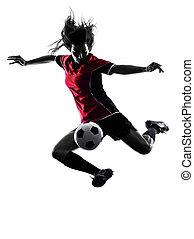 spieler, frau, fußball, silhouette, freigestellt