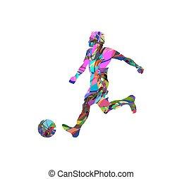 spieler, fußball, silhouette