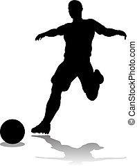spieler, fußball, silhouette, fußball
