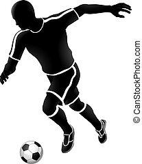 spieler, fußball, silhouette, fußball, sport