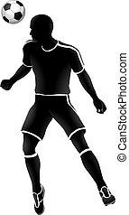 spieler, fußball, silhouette, sport