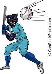 spieler, panther, maskottchen, schwingen, baseballschläger