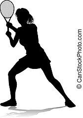 spieler, silhouette, frau, tennis, sport