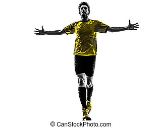 spieler, silhouette, hintergrund, fußball, glück, mann, weißes, fußball, studio, freude, brasilianisch, eins, junger