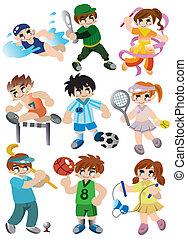 spieler, sport, satz, karikatur, ikone