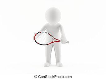 spieler, tennis, 3d
