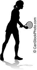 spieler, tennis, sport, silhouette, frau