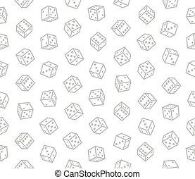 Spieler würfeln nahtlose Muster auf weißem Hintergrund. Vector