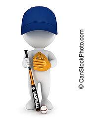 spieler, weißes, 3d, baseball, leute