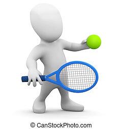spieler, wenig, tennis, 3d