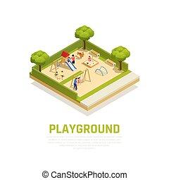 Spielplatz isometrisches Konzept.