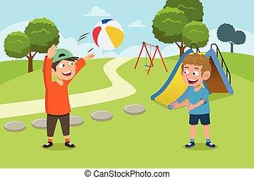 spielplatz, kinder, kugel, abbildung, spielende