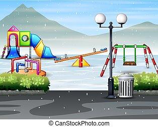 spielplatz, winter, parken stadt, jahreszeit, öffentlichkeit, kinder
