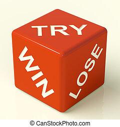 spielwürfel, gewinnen, ausstellung, versuch, verlieren, gluecksspiel, rotes , glück