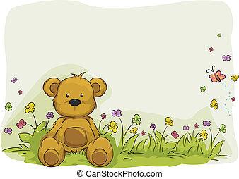 Spielzeugbärenfoliage Hintergrund