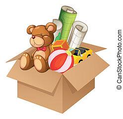 Spielzeuge in einer Kiste.