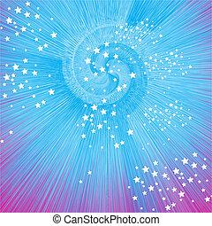 Spirale zerplatzt vor Sternen