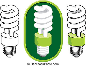 Spiraler kompakter Fluoreszierender Glühbirnenvektor