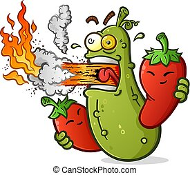 Spitzhacken-Cartoon mit heißen Paprika, die Feuer einatmen.